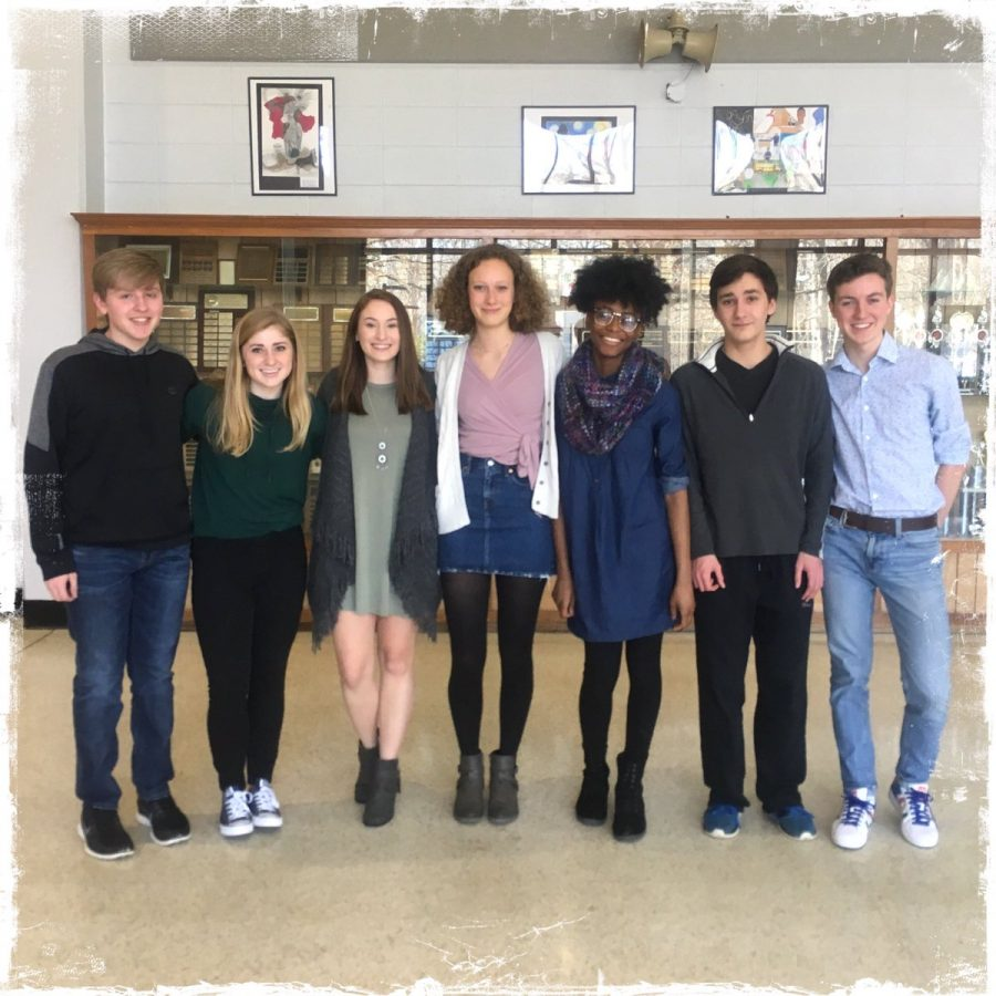 Accepted students of the NC Governors School gather for a group photo. From left to right; Andrew Mincey, Grace Dively, Elizabeth Coates, Cedelia Obenshain, Sabria Jackson, Lucas Woodley, and Elijah Larson.