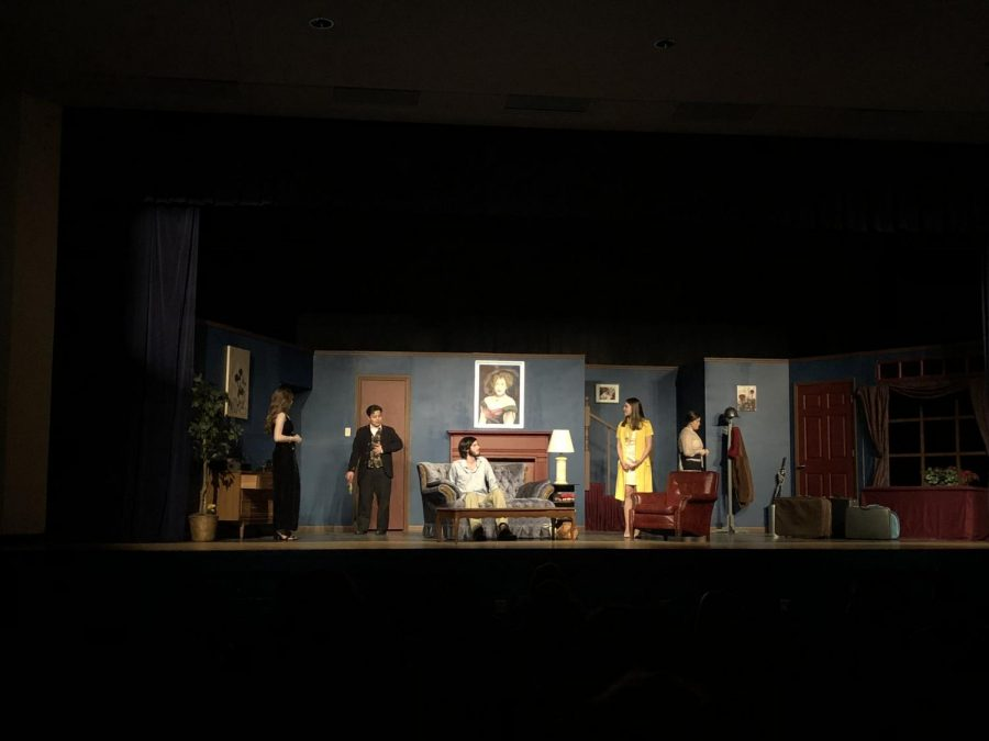 The cast of The Murder Room not only performs onstage for their opening night show, but solve a murder at the same time!