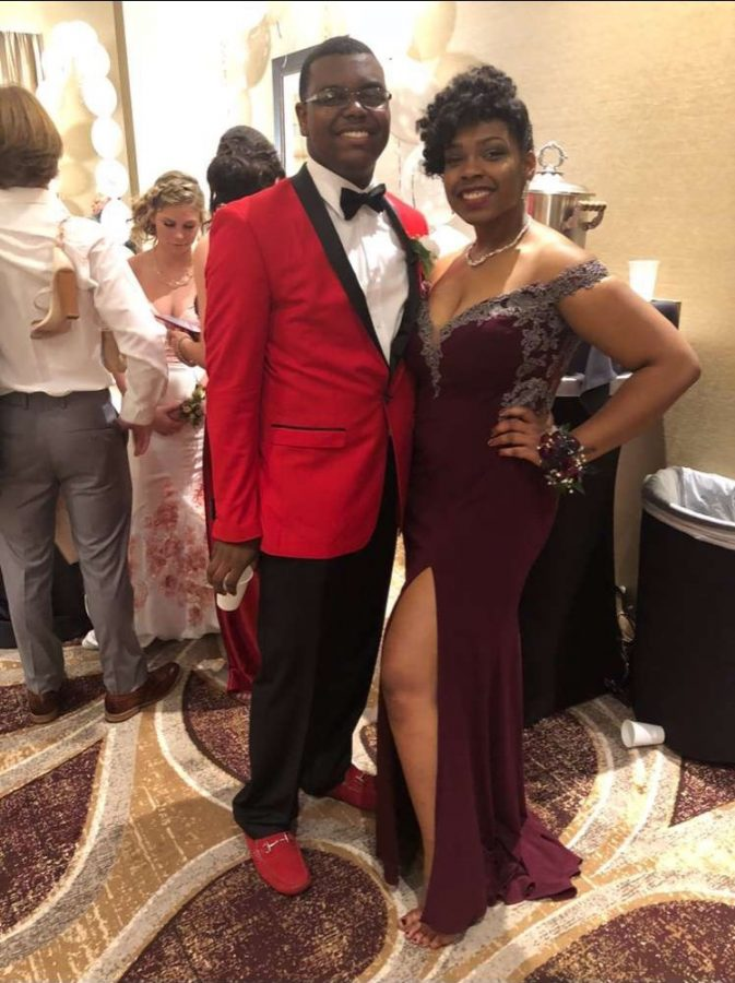 Kintwon Pettiford and Maryland Allen taking a picture before he gets crowned prom king!
