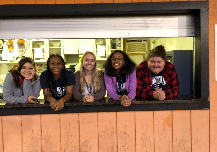 Katie, Destiny, Sarah, Ashari, Ashliegh, and me, working a JV football game.