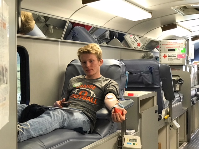 Junior Jackson Phillips is ready to donate blood to the community.